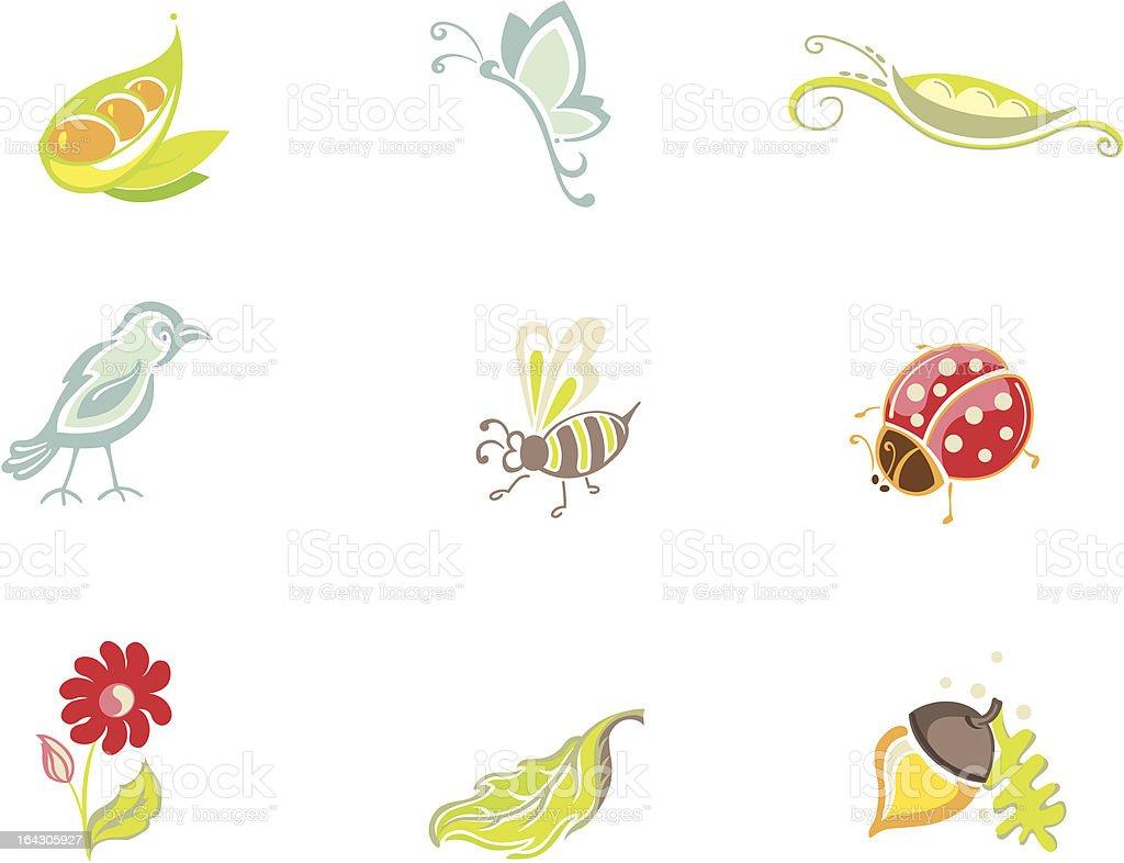 Nature Icons vector art illustration
