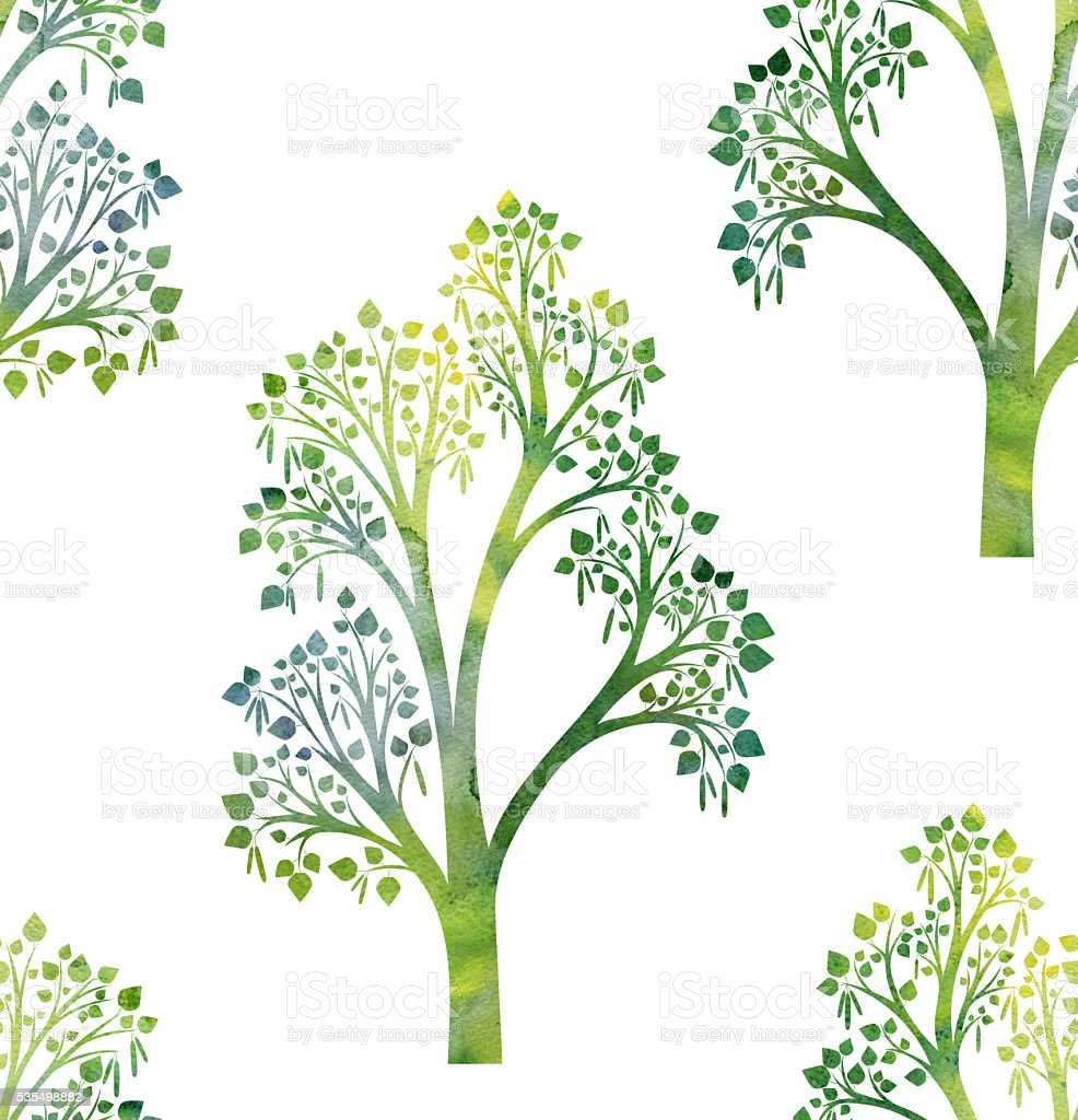 nature seamless pattern with birch tree branches and green leaves vector art illustration