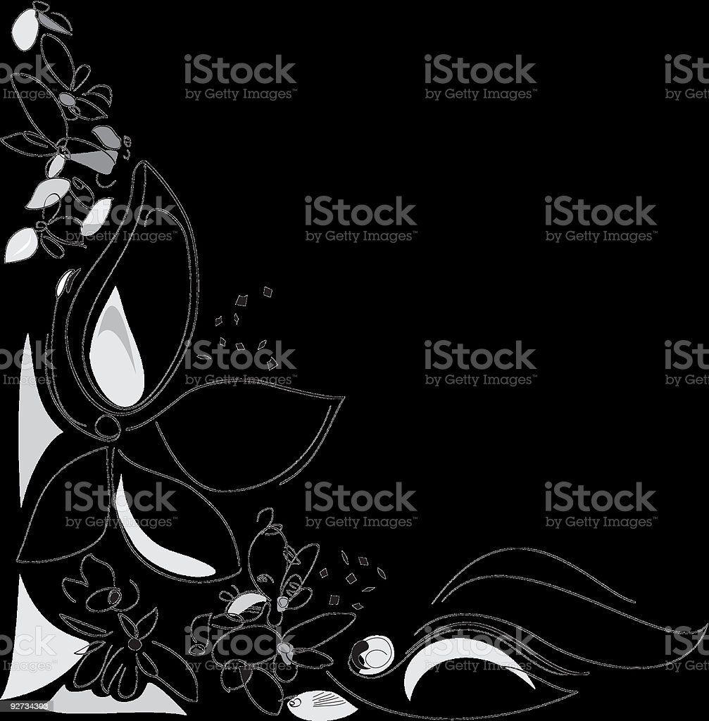 Nature, Spring Flowers. Corner composition. Black white. Digital royalty-free stock vector art