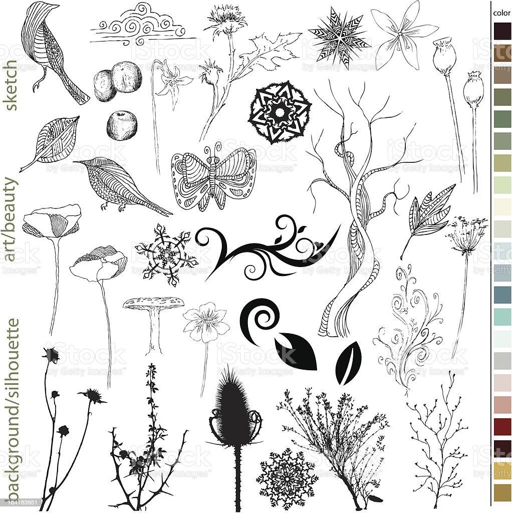 Nature Stuff vector art illustration