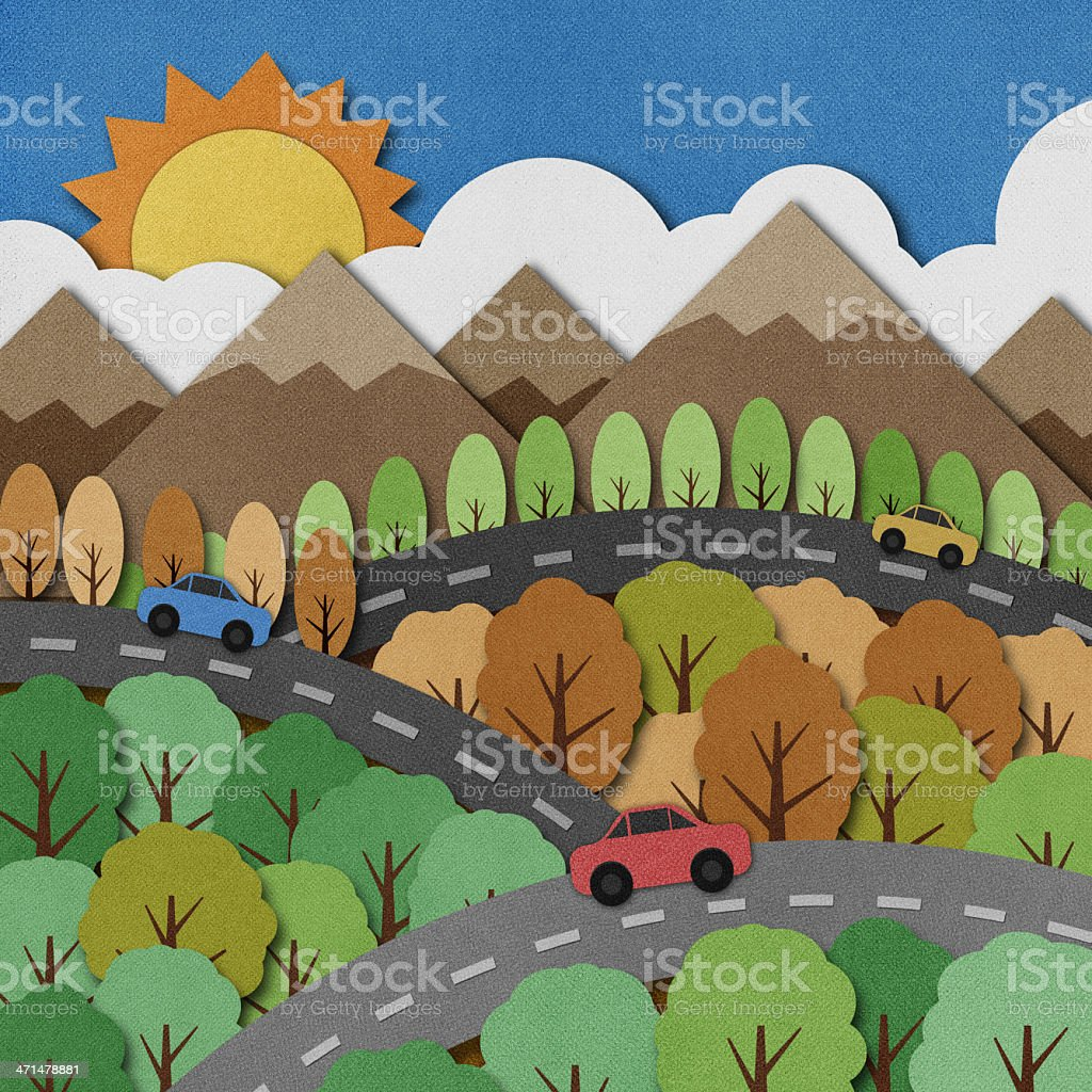 Nature view recycled paper craft Background royalty-free stock vector art