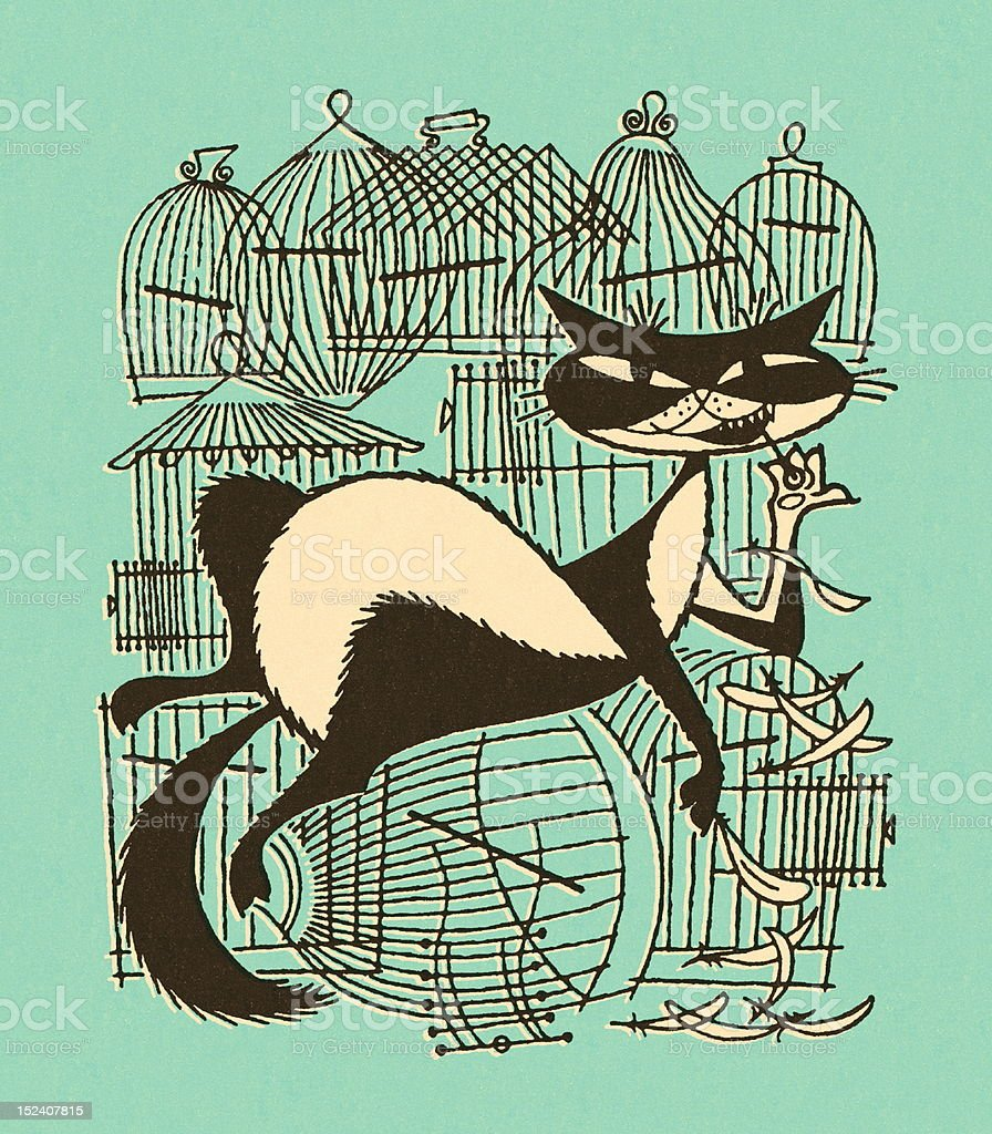 Naughty Cat With Empty Birdcages royalty-free stock vector art