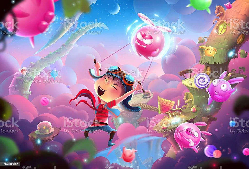 Naughty Kid's Fantastic Happy World and WonderLand vector art illustration