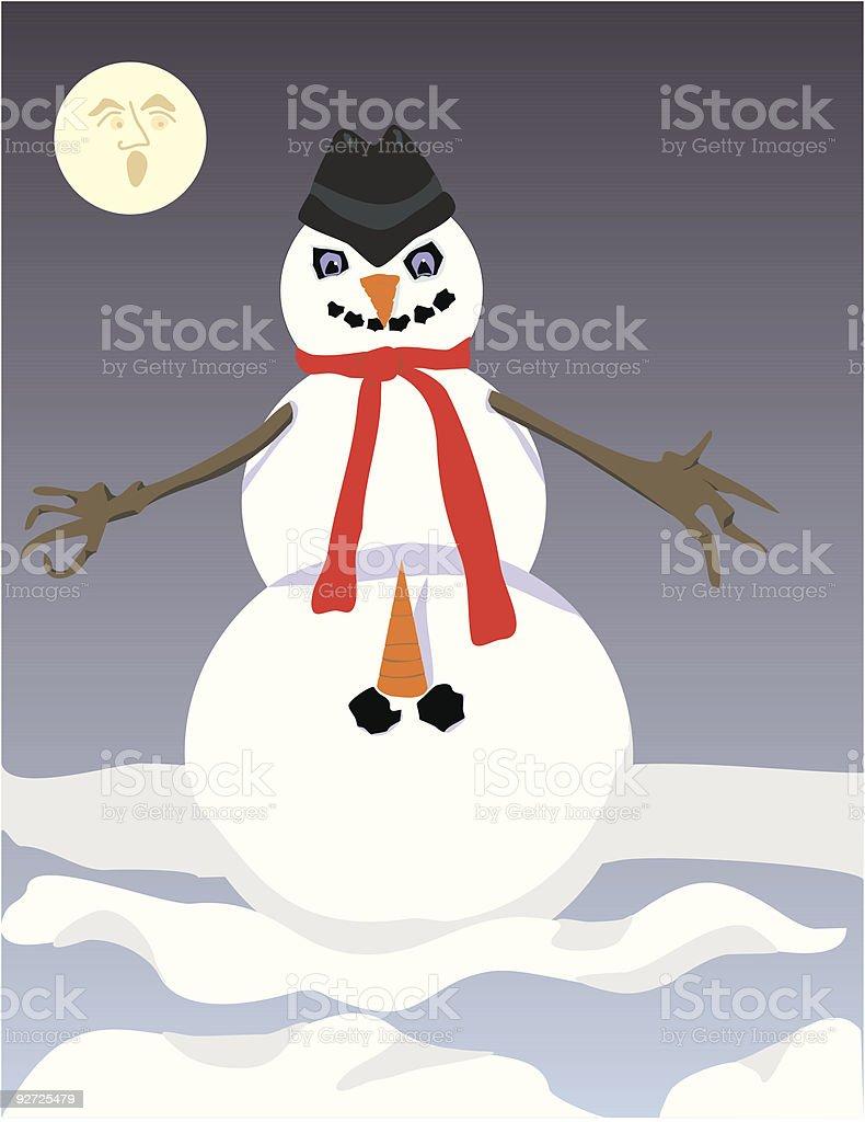 Naughty, Nasty Frosty Snowman (vector) royalty-free stock vector art