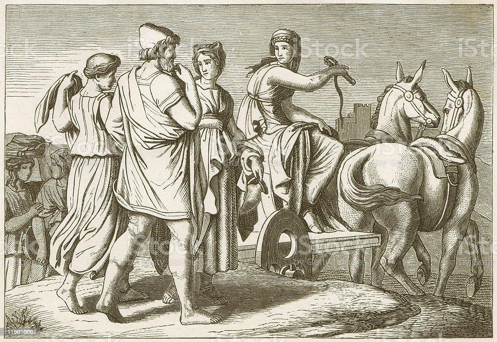 Nausicaa and Odysseus, Greek mythology, wood engraving, published in 1883 vector art illustration