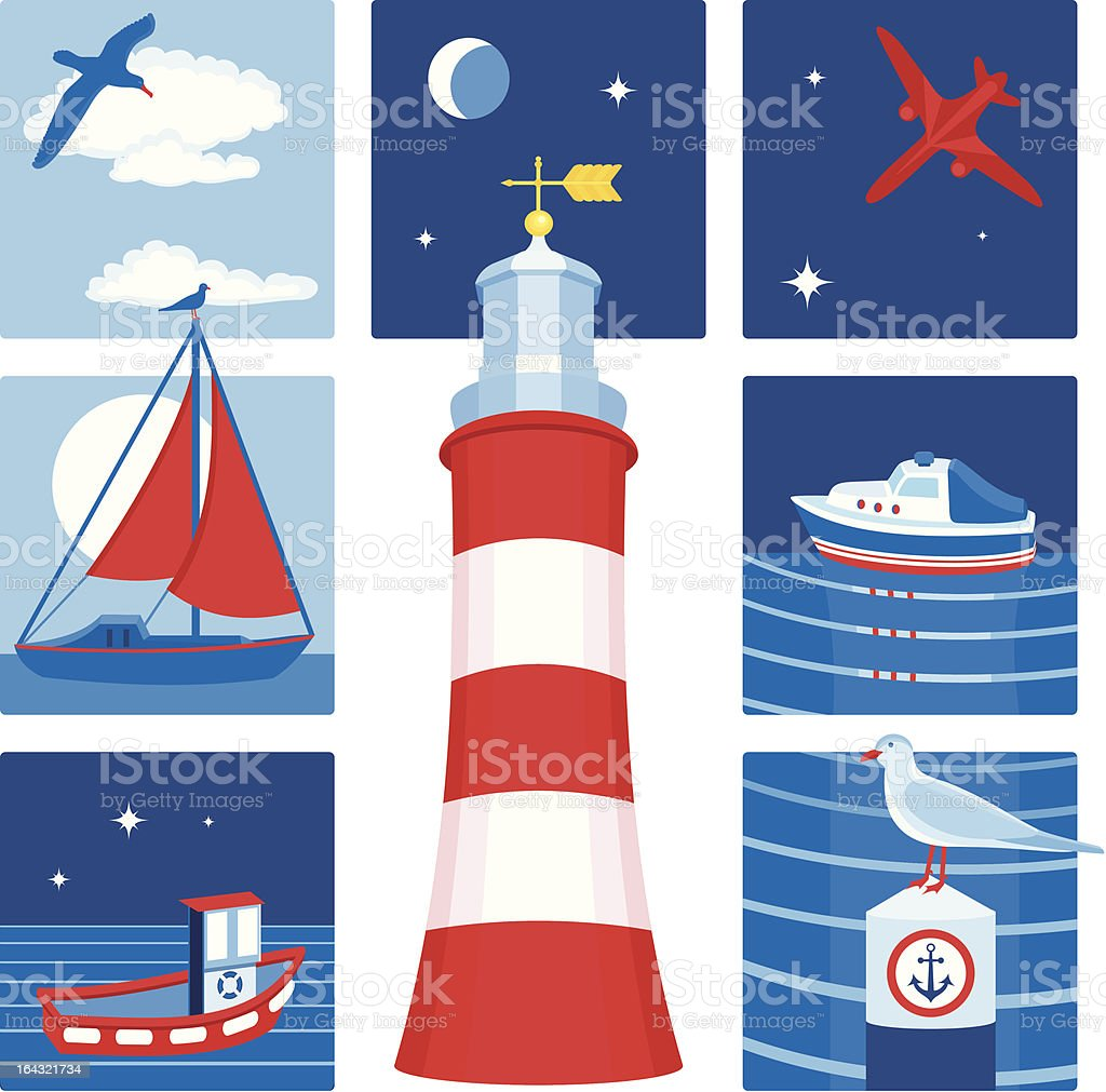 Nautical icons (Set 1) royalty-free stock vector art