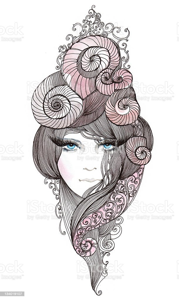 nautilus hair vector art illustration