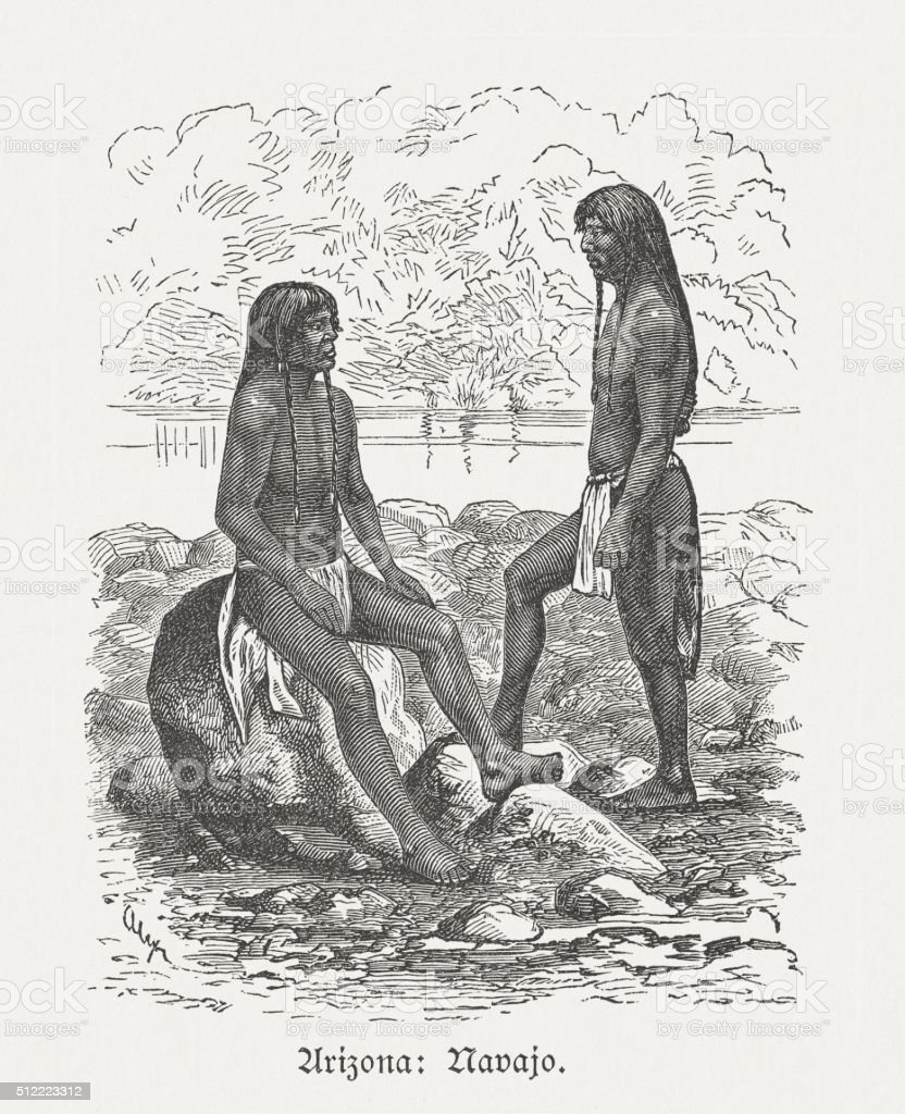 Navajo - Native American people, wood engraving, published in 1880 vector art illustration