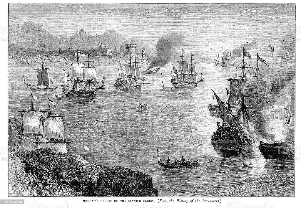 Naval Battle 17th Century royalty-free stock vector art