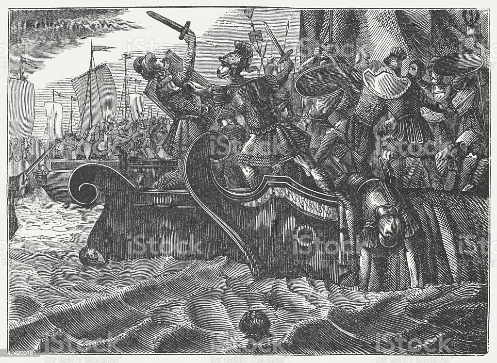 Naval battle of Salamis, 480 BC, wood engraving, published 1864 vector art illustration