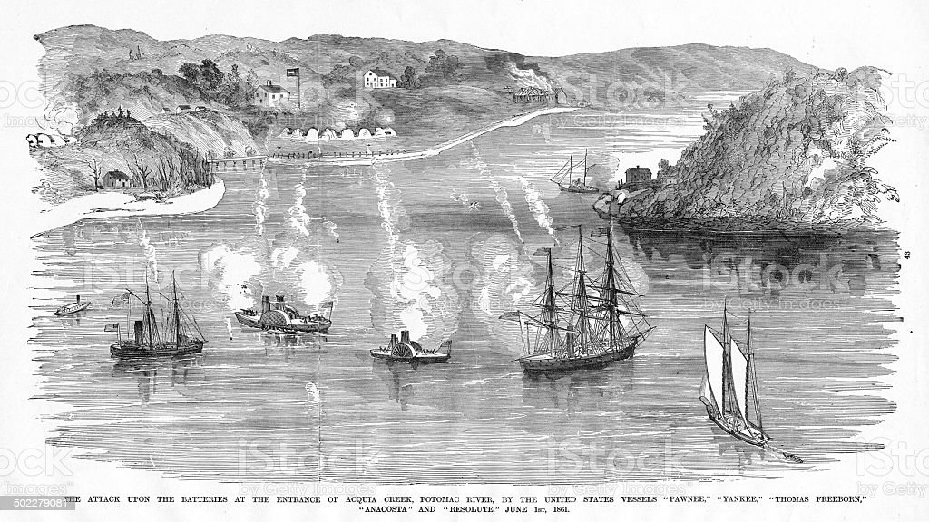 Naval Battle of the American Civil War stock photo