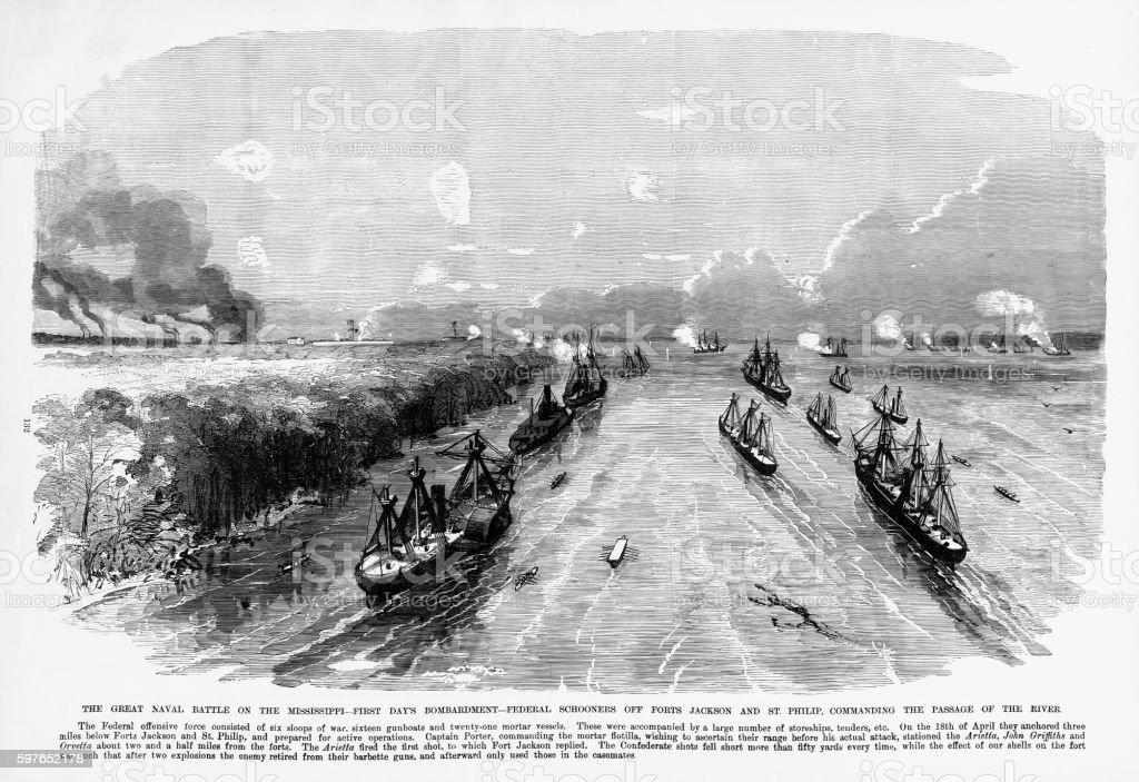 Naval Battle on the Mississippi, 1861 Civil War Engraving vector art illustration