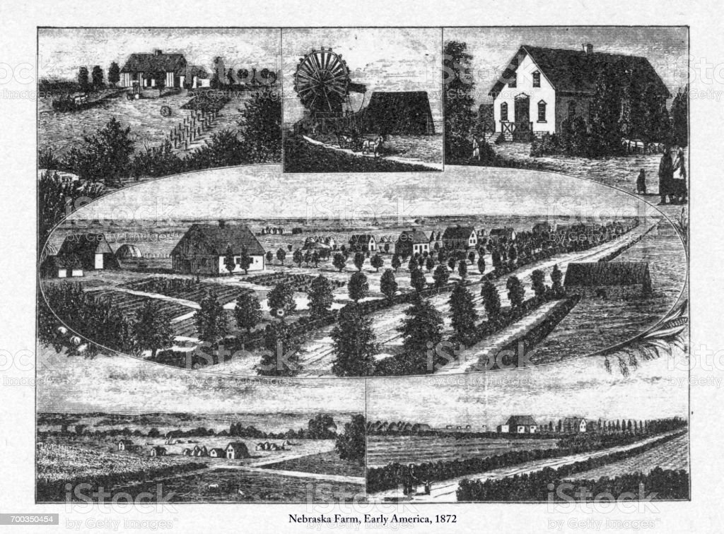 Nebraska Farm, Portrait of Early American Engraving, 1872 vector art illustration