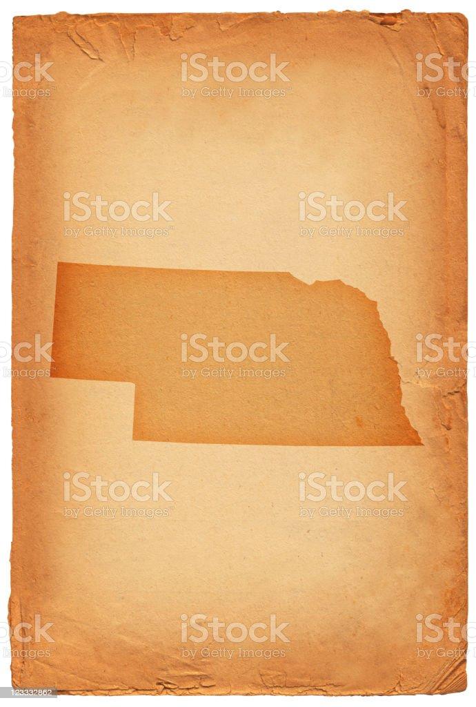Nebraska state map on old paper Background royalty-free stock vector art