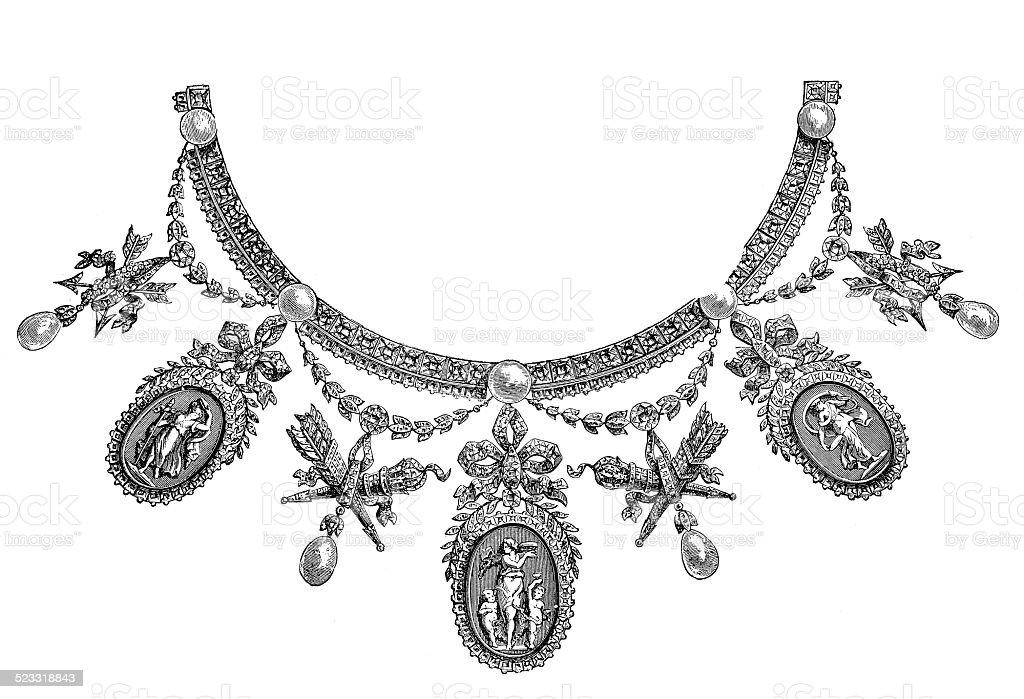 Necklace - Parure (Louis XVI.), by Boucheron (antique engraving) vector art illustration