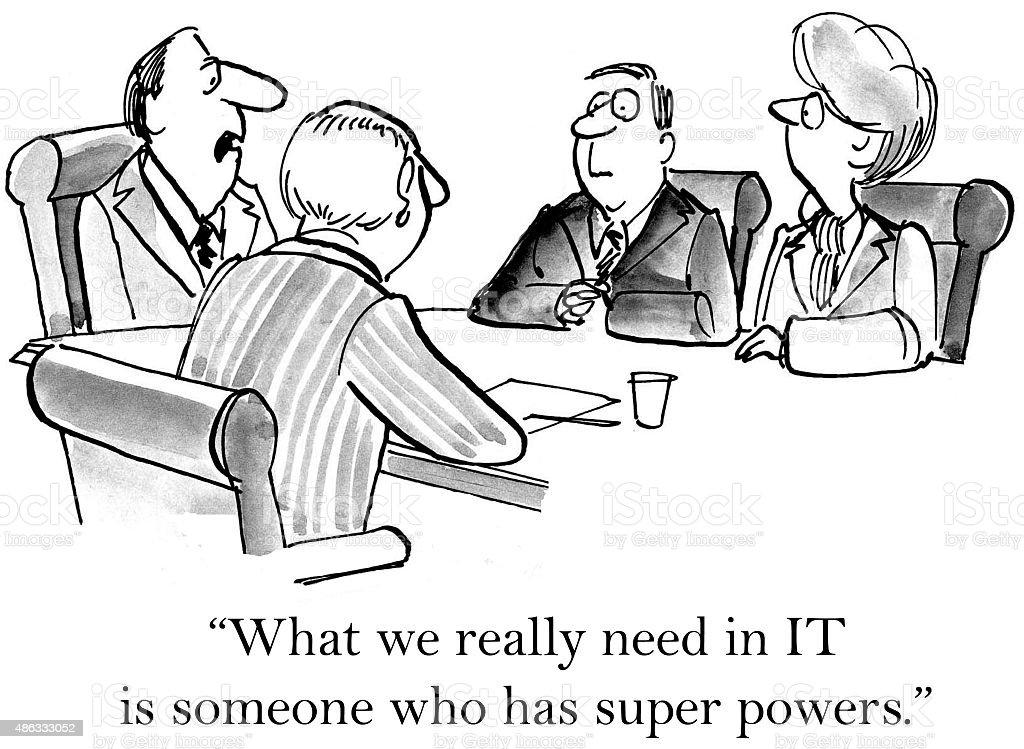 Need Super Powers in IT vector art illustration