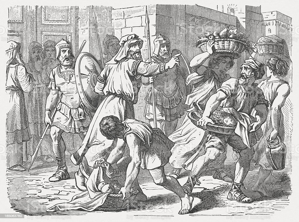 Nehemiah defended the Sabbath (Nehemiah 13,19), wood engraving, published 1877 vector art illustration