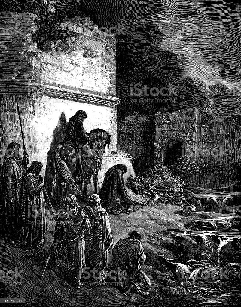 Nehemiah exhorts the Israelites royalty-free stock vector art