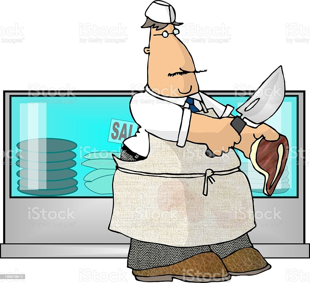 Neighborhood Butcher royalty-free stock vector art
