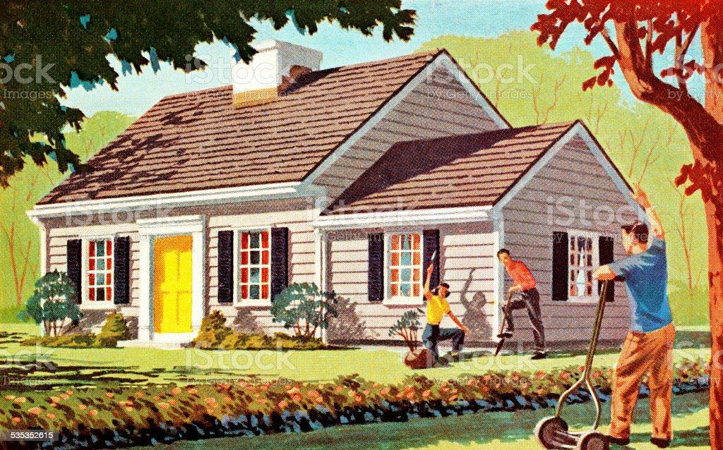 Neighbors Doing Lawn Work vector art illustration
