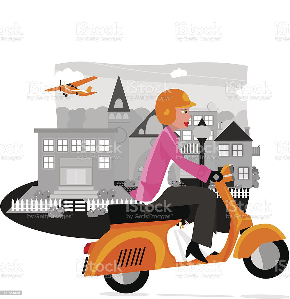 neighbourhood town and scooter _ II royalty-free stock vector art