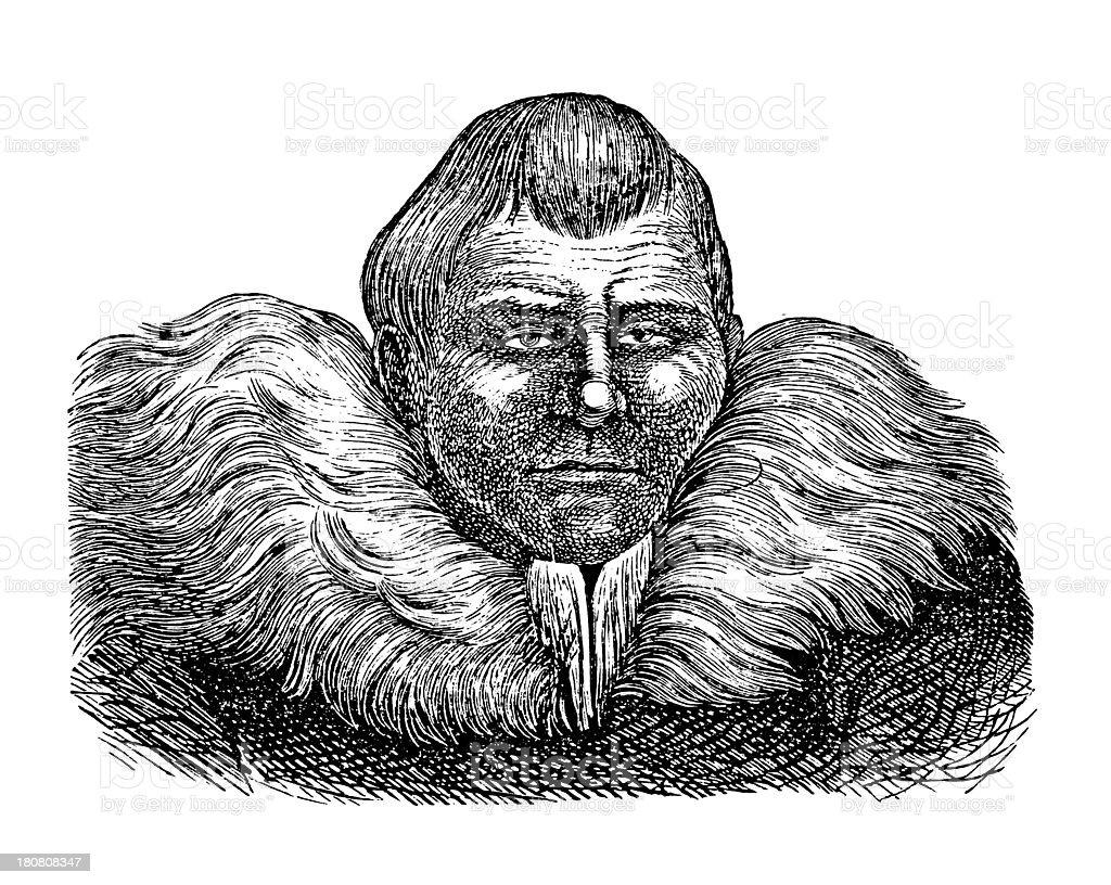 Nemelan, Kamchatka (antique wood engraving) royalty-free stock vector art