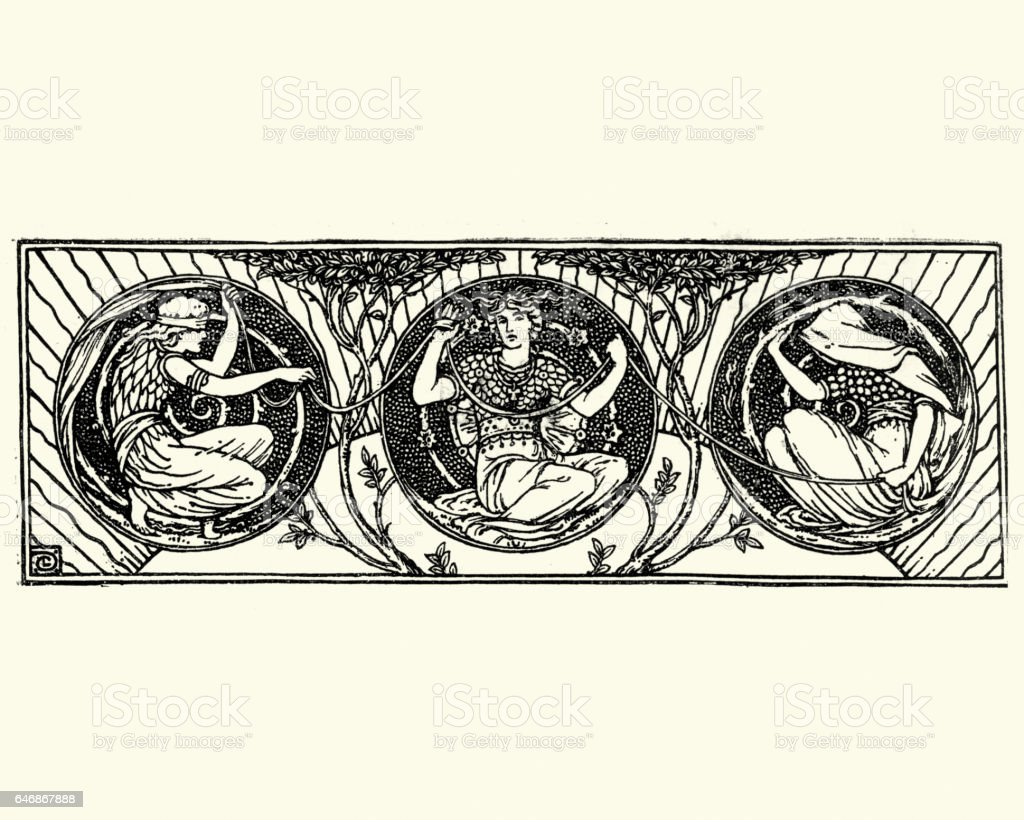 neoclassical mythic figures vector art illustration