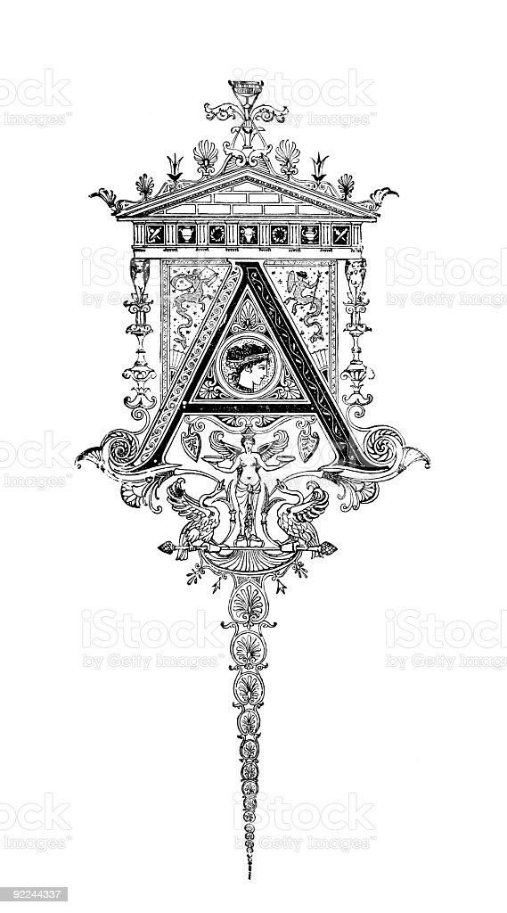 Neoclassical Romanesque design depicting the letter A royalty-free stock vector art