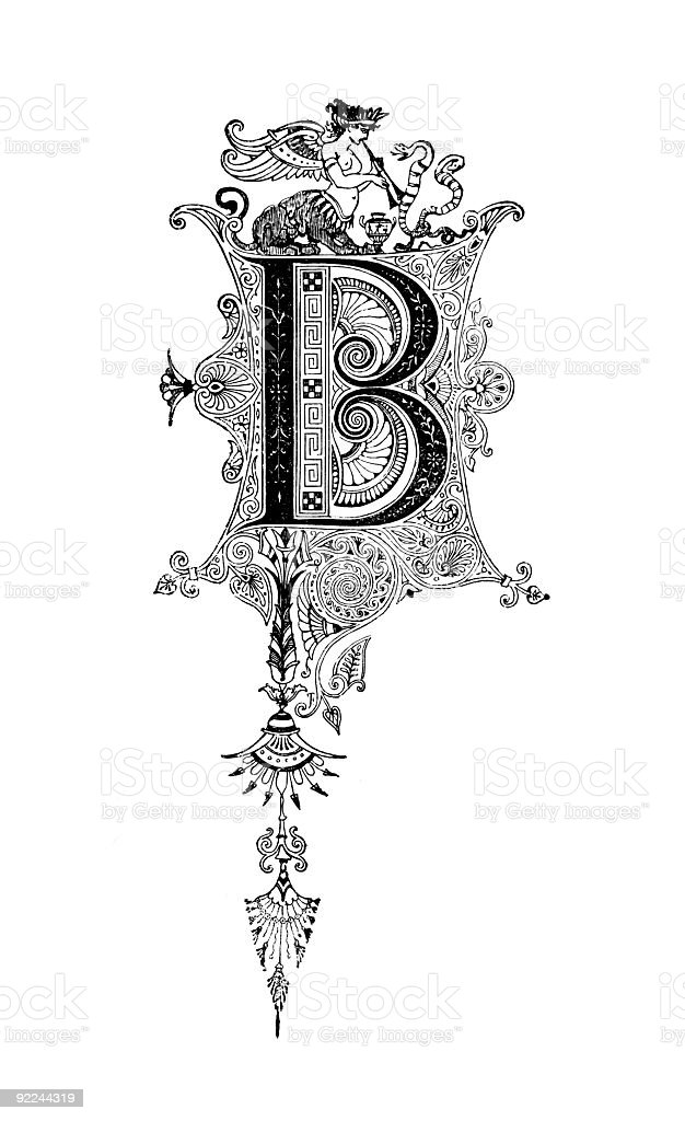 Neoclassical Romanesque design depicting the letter B royalty-free stock vector art