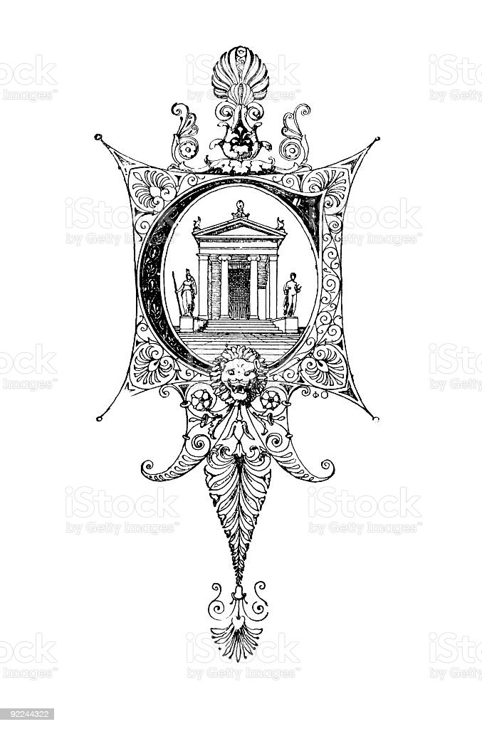 Neoclassical Romanesque design depicting the letter C royalty-free stock vector art