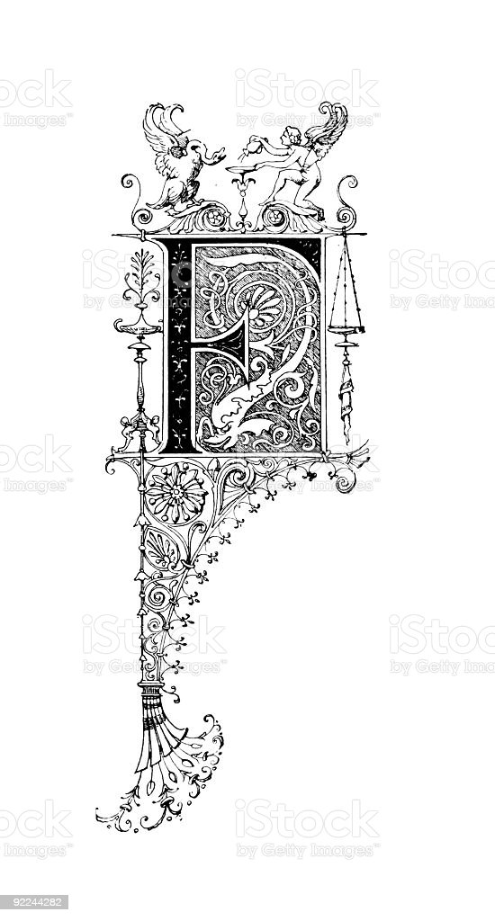 Neoclassical Romanesque design depicting the letter F royalty-free stock vector art