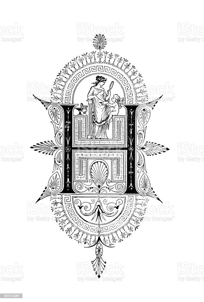 Neoclassical Romanesque design depicting the letter H royalty-free stock vector art
