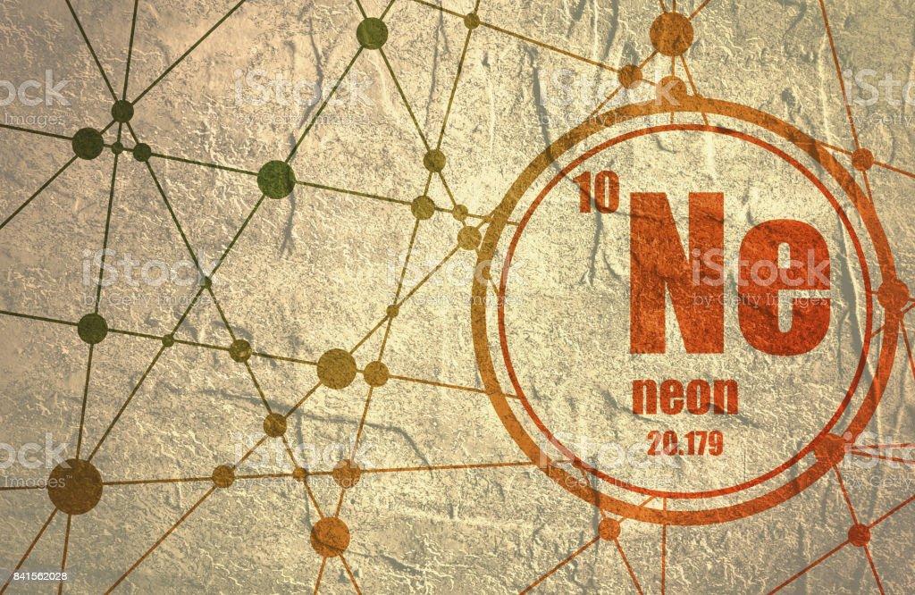 Neon chemical element. vector art illustration