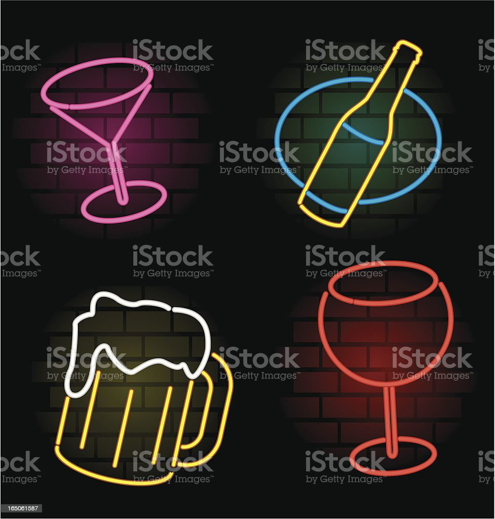 neon drink vector art illustration