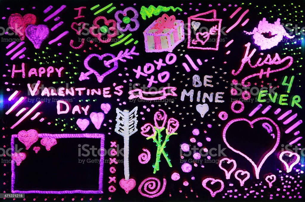 Neon Glow Valentine's Day Doodle Design Elements vector art illustration
