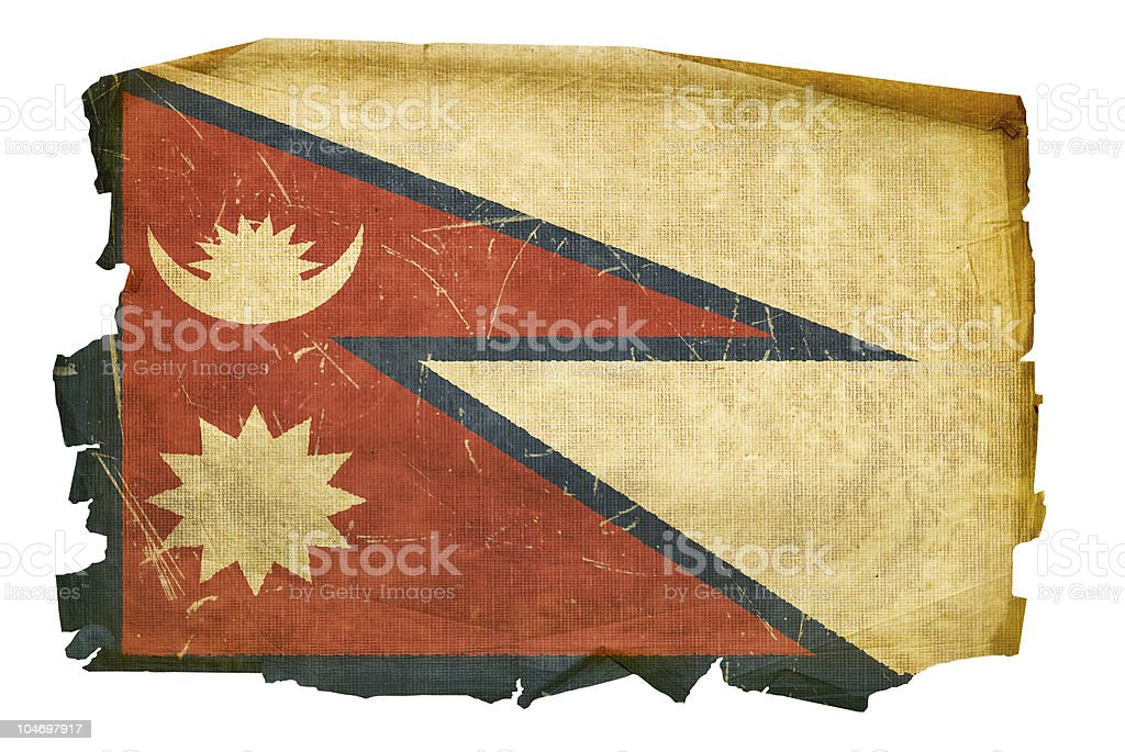 Nepal Flag old, isolated on white background vector art illustration