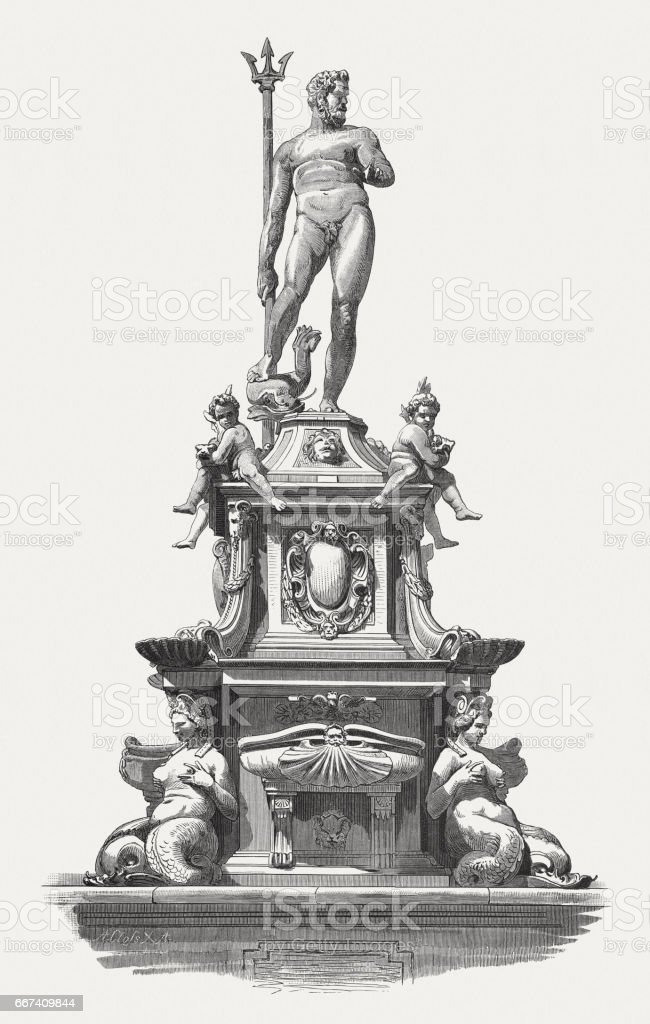 Neptune Fountain, sculpted (1565) by Giambologna, Bologna, Italy, published 1884 vector art illustration