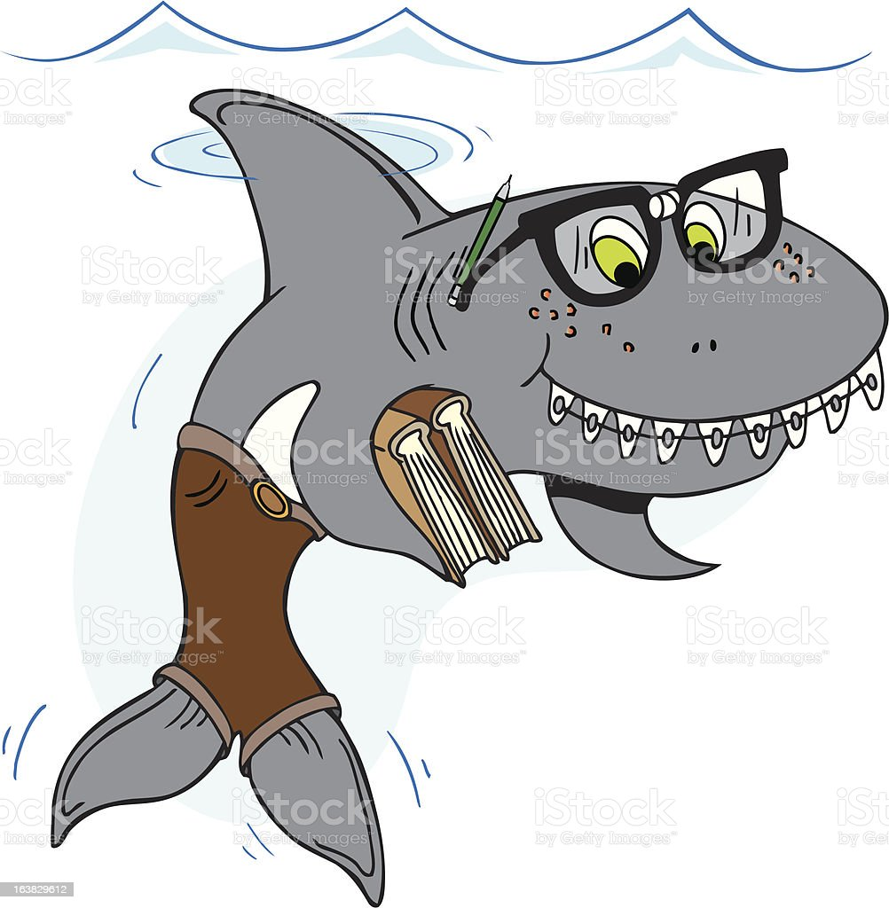 Nerd Shark royalty-free stock vector art