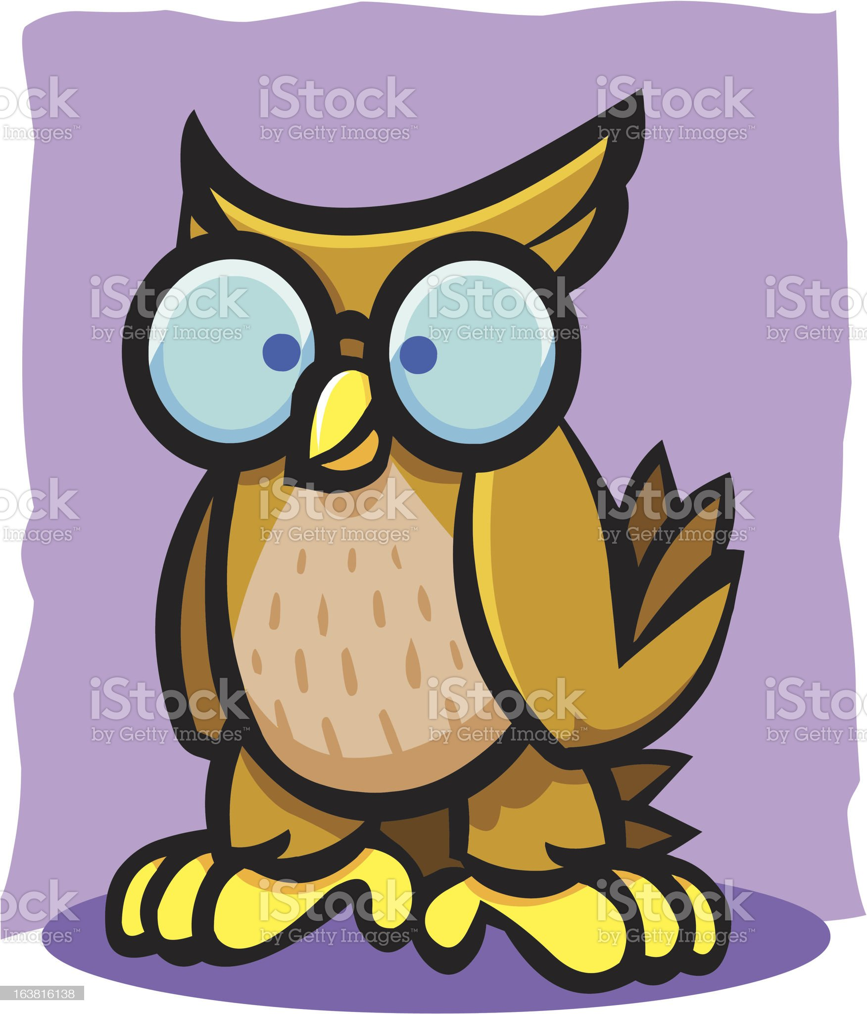 Nerdy Owl Wearing Glasses royalty-free stock vector art