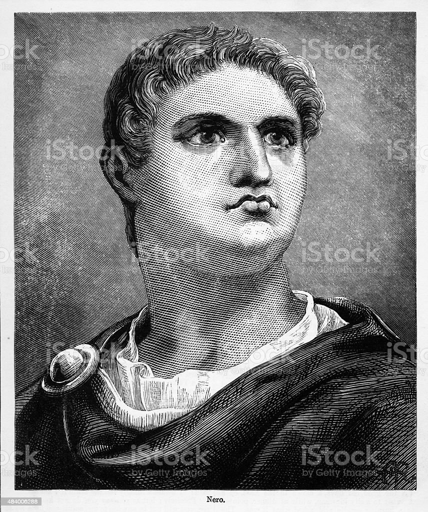 Nero, 37-68 A.D. Engraving vector art illustration