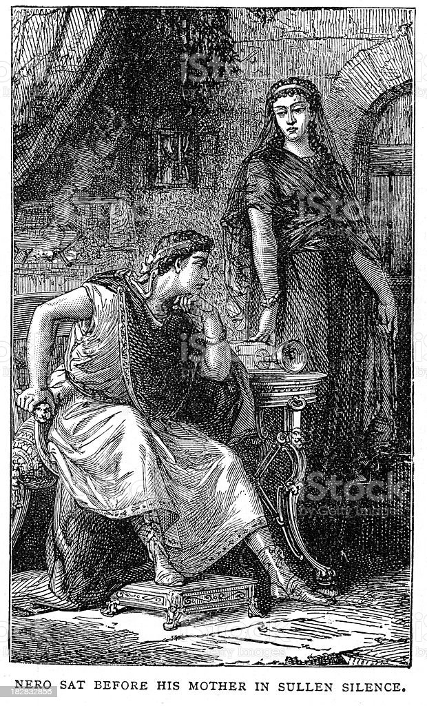 Nero and his Mother royalty-free stock vector art