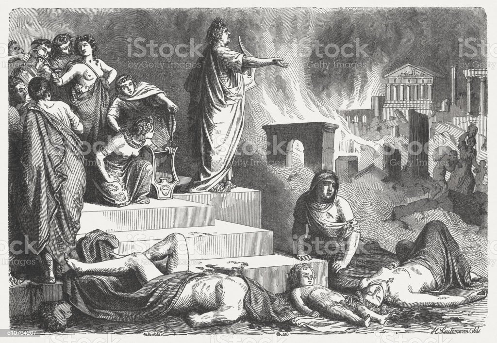 Nero looks at the burning Rome, 64 AD, published 1864 vector art illustration