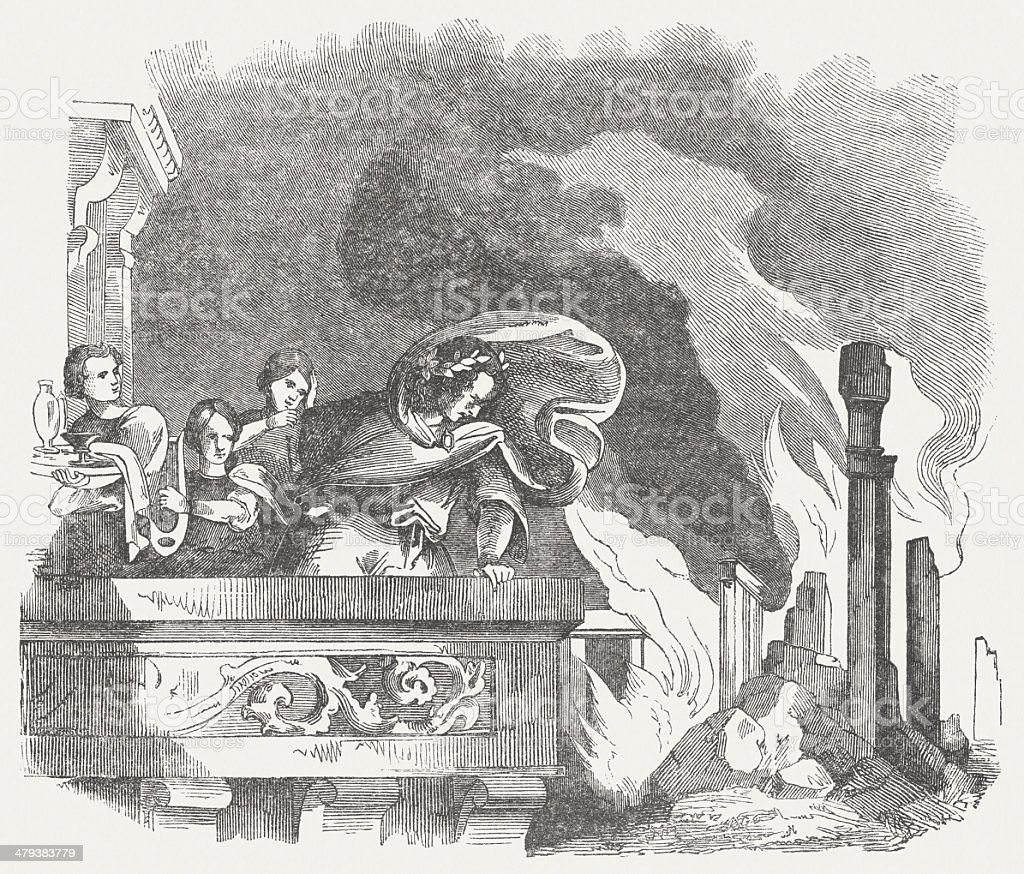 Great Fire of Rome in 64 AD, publ. 1864 vector art illustration