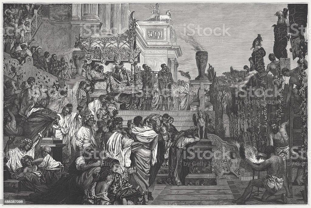 Nero's HumanTorches by Henryk Siemiradzki (Polish painter), published 1878 vector art illustration