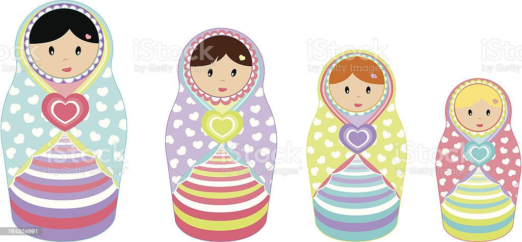 Nested Dolls royalty-free stock vector art