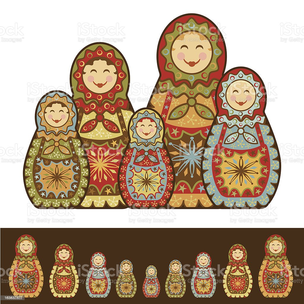 Nesting Dolls royalty-free stock vector art