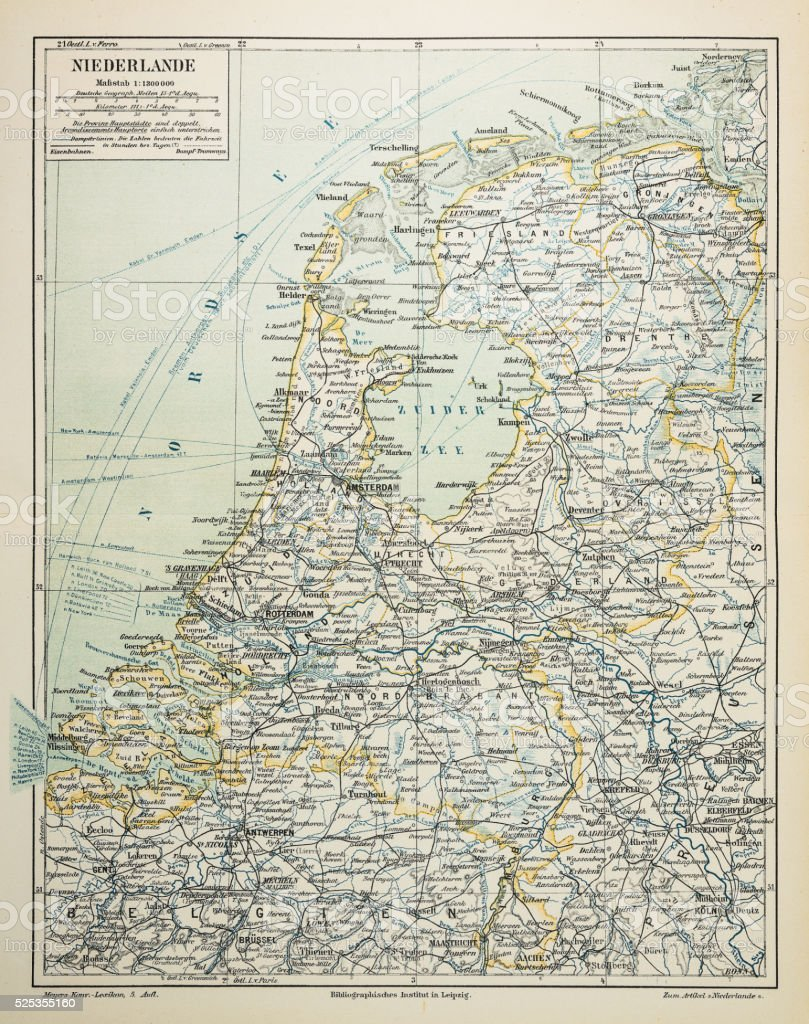 Netherlands map 1895 vector art illustration