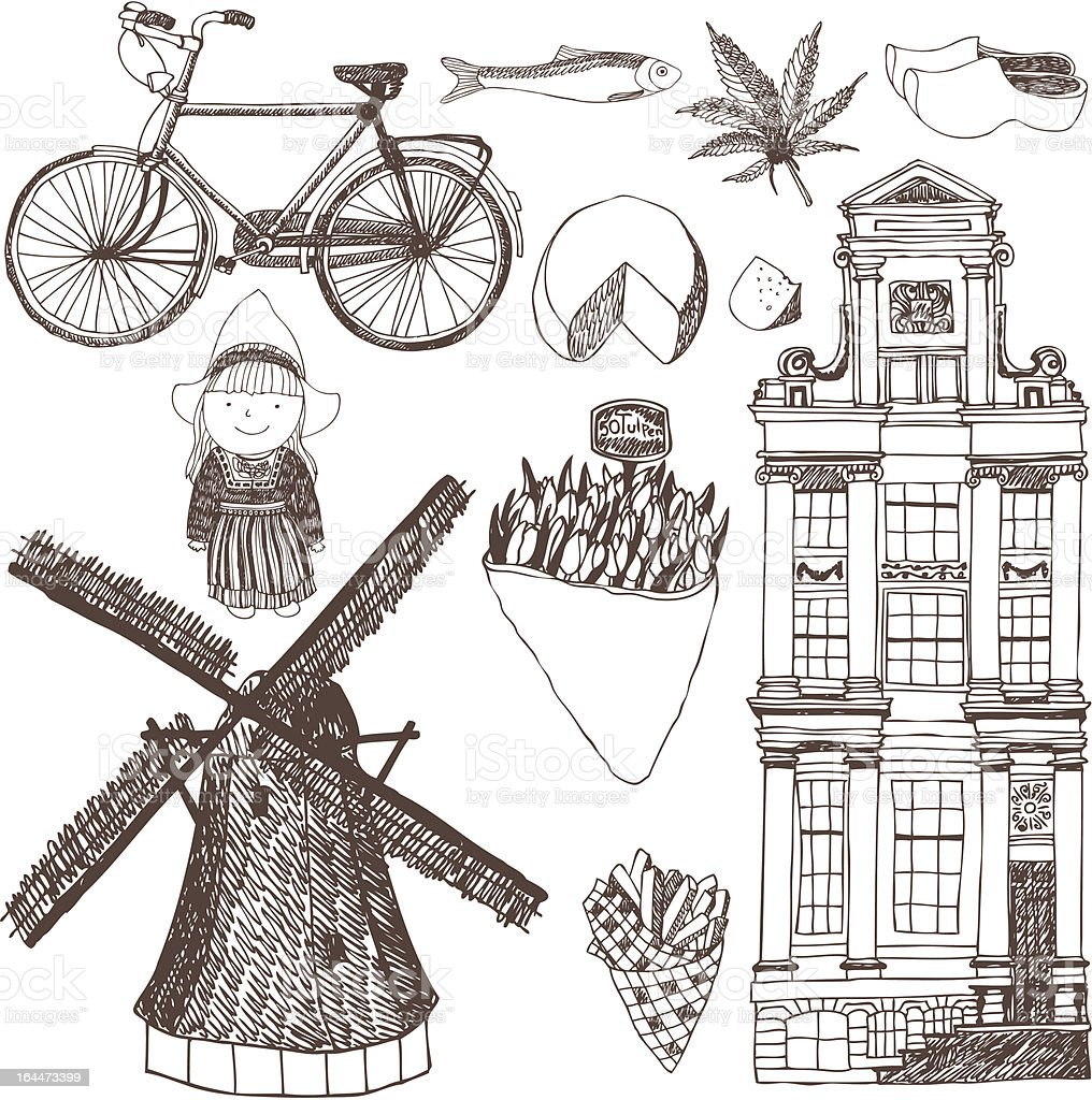Netherlands set vector art illustration