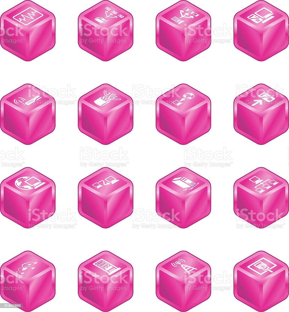 Network Computing Cube Icons Series Set. royalty-free stock vector art