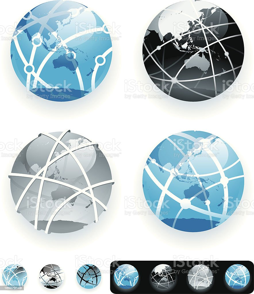 Network globes - Asia and Australasia royalty-free stock vector art